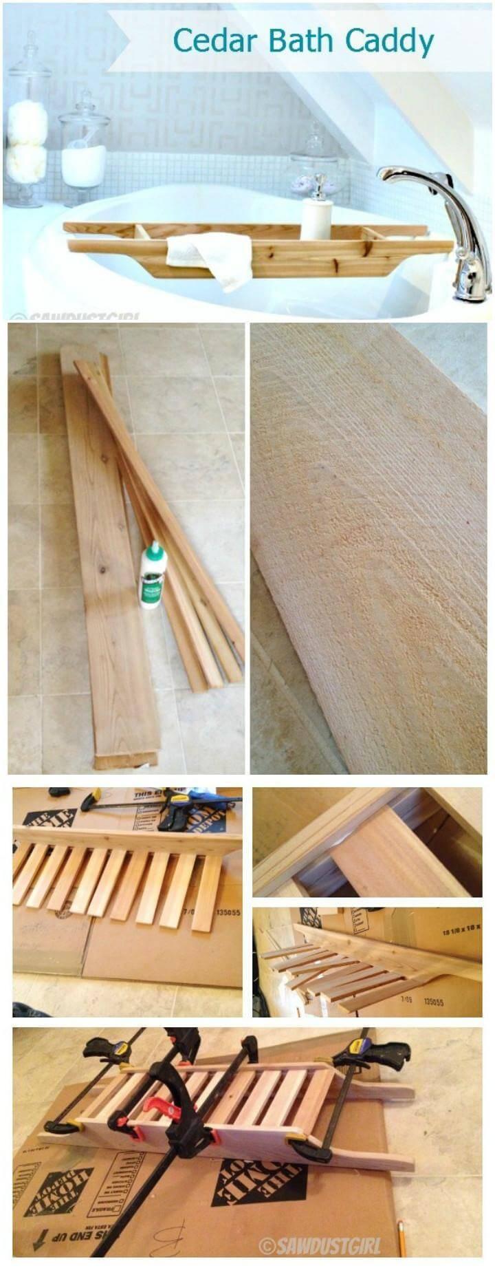 handmade cedar bathroom caddy