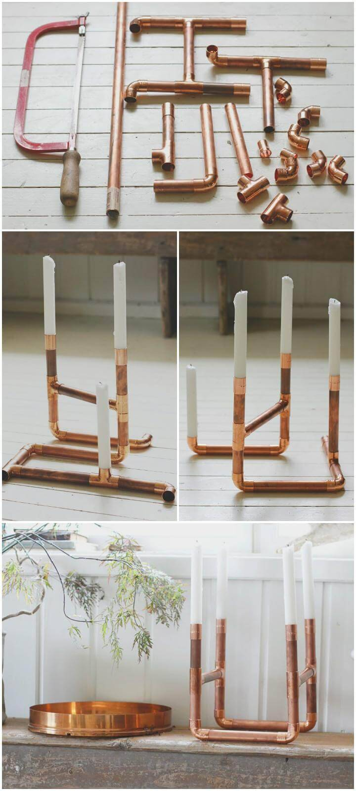 self-made copper pipe candle holder