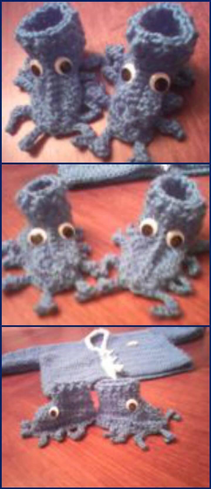 free crochet sea creature shoes pattern