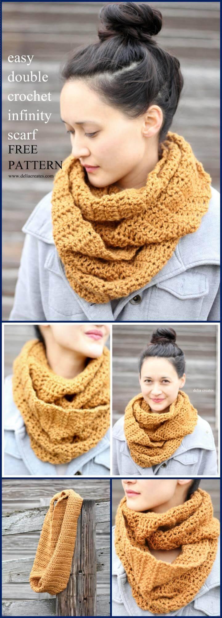 DIY double crochet infinity scarf free pattern