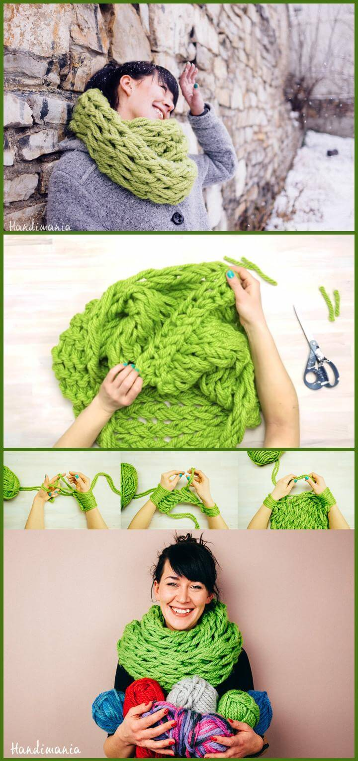 stylish green 30 minute infinity scarf
