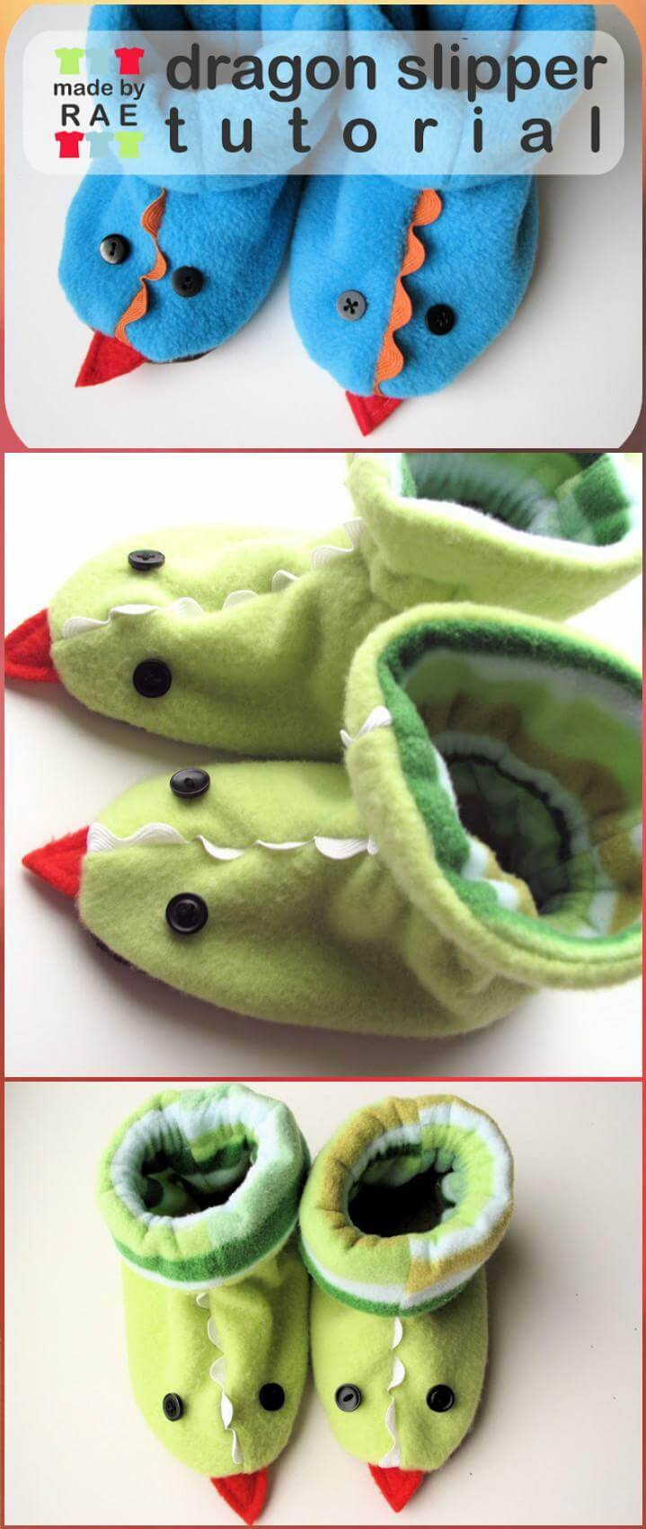 free dragon baby slippers tutorial