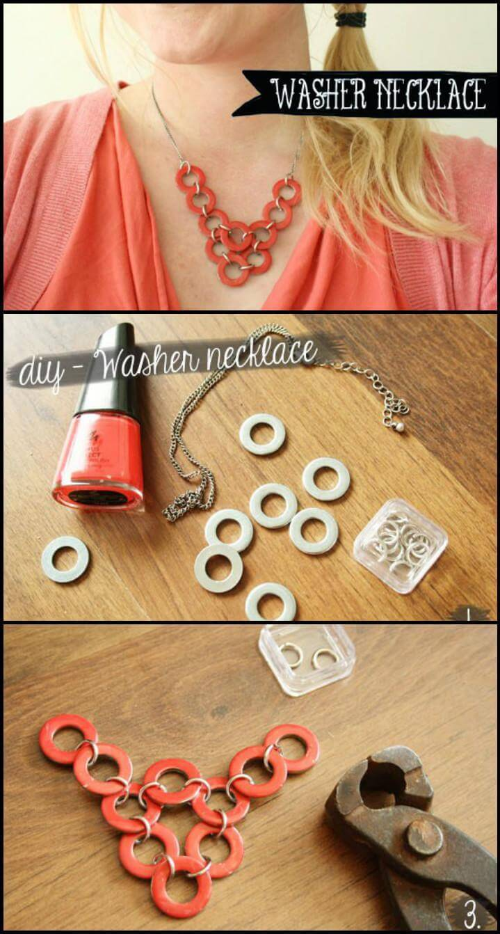repurposed washers DIY necklace