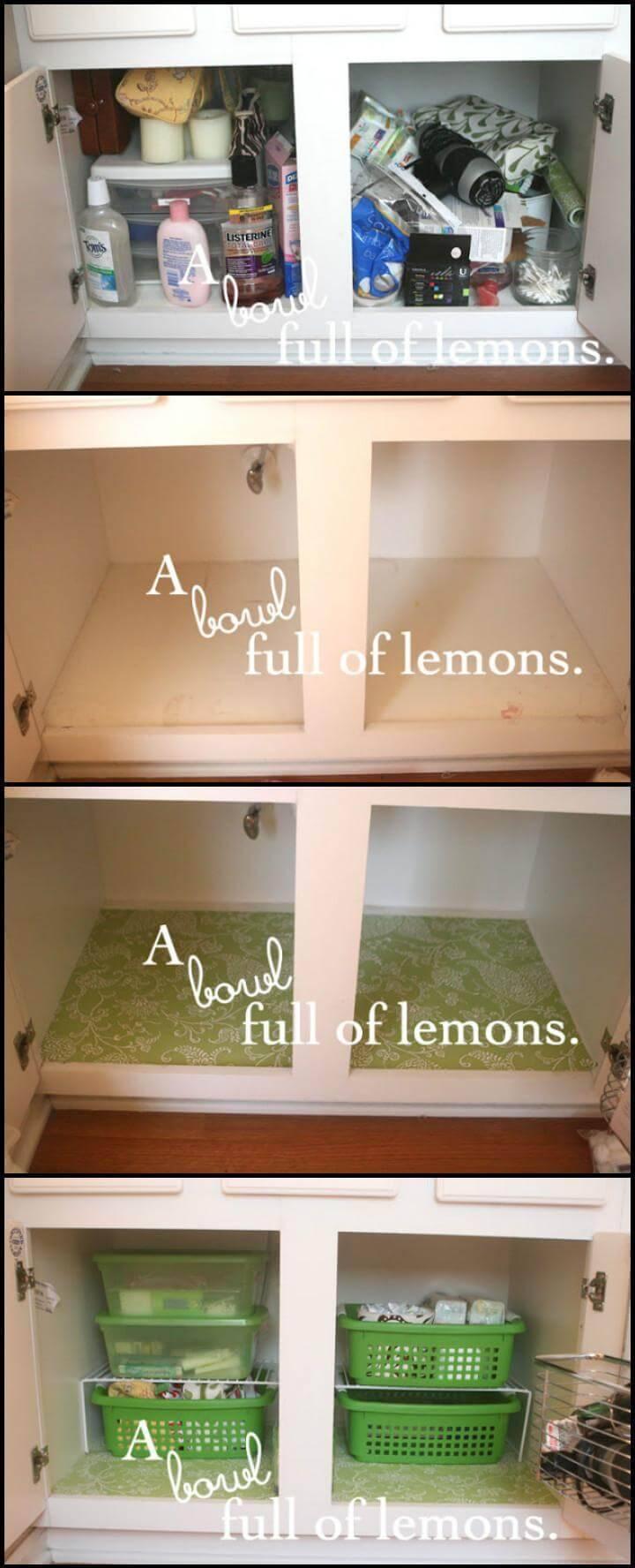 cost-efficient bathroom organization