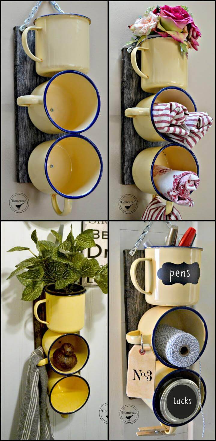 repurposed enamel mugs organizer
