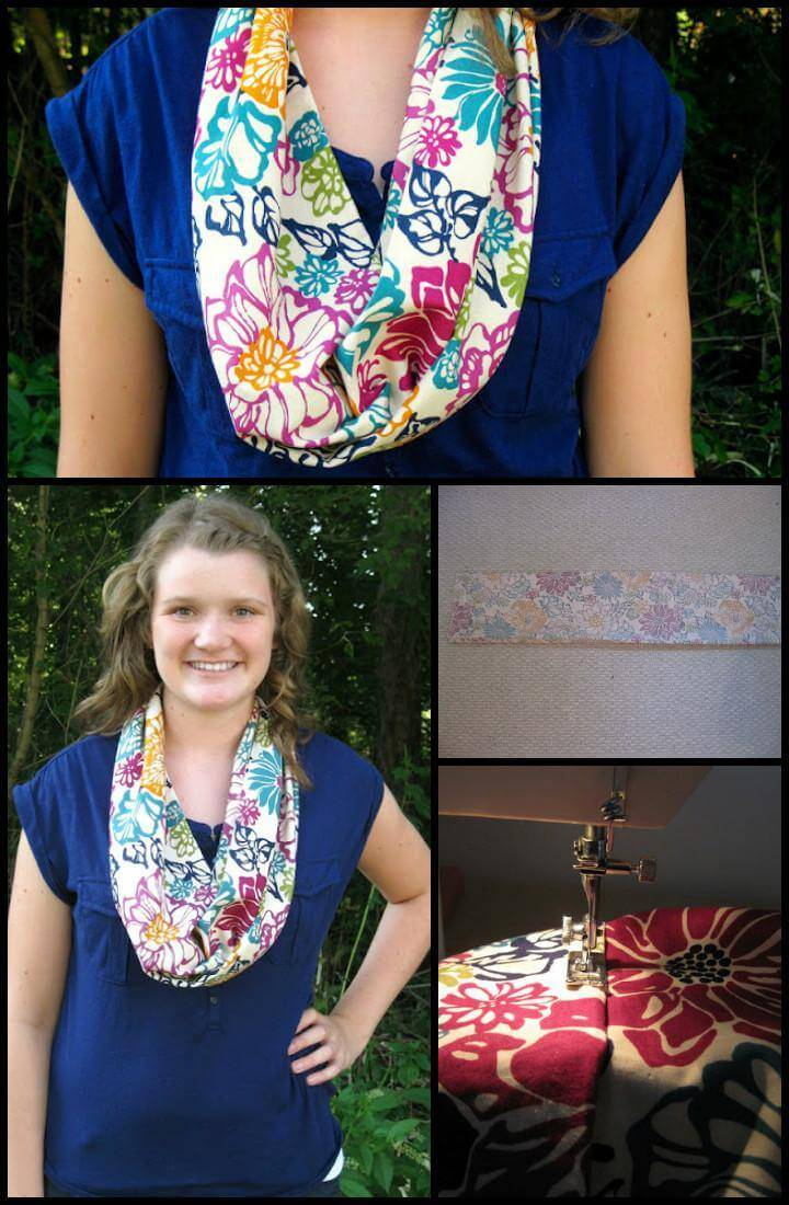 easy floral fabric infinity scarf