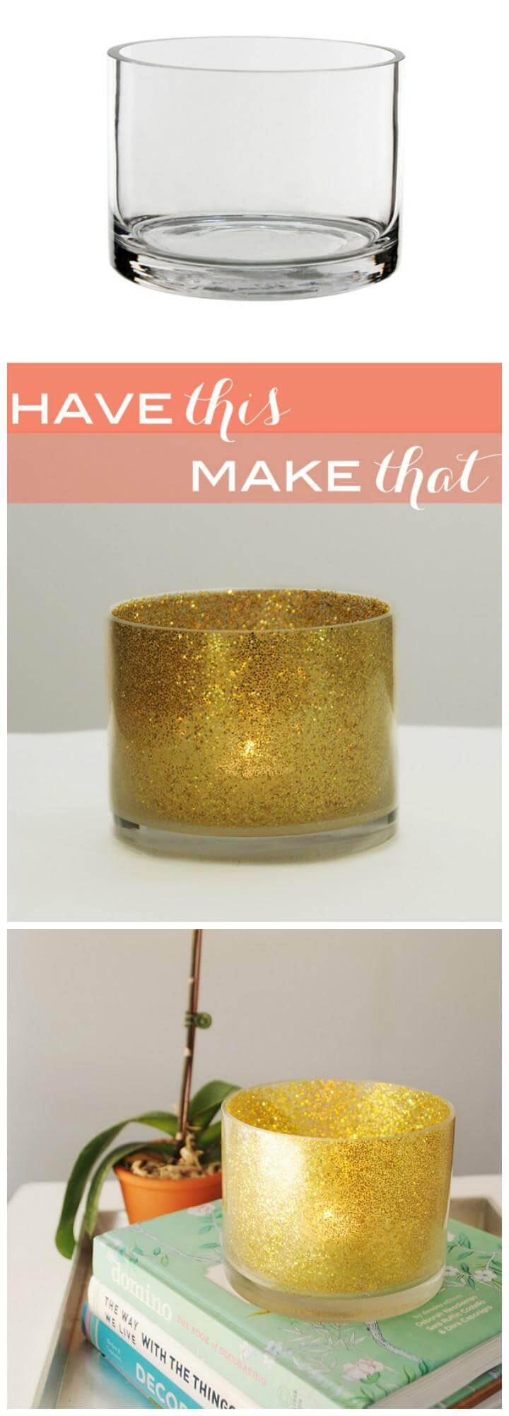 easy glitter candle holder