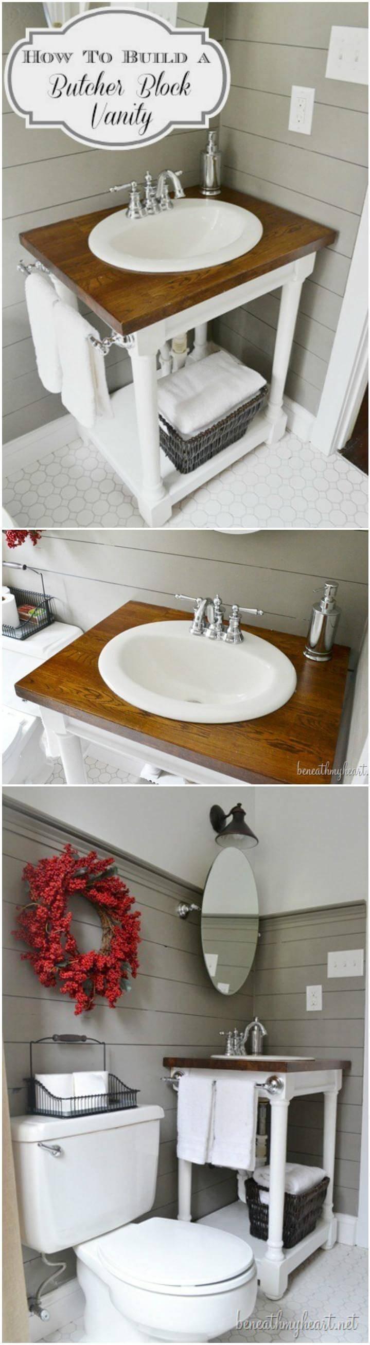 self-installed and made DIY butcher block vanity