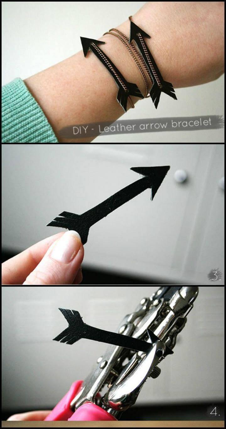 handmade leather arrow chain bracelet