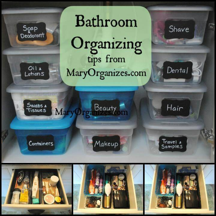 low-cost master bathroom organization