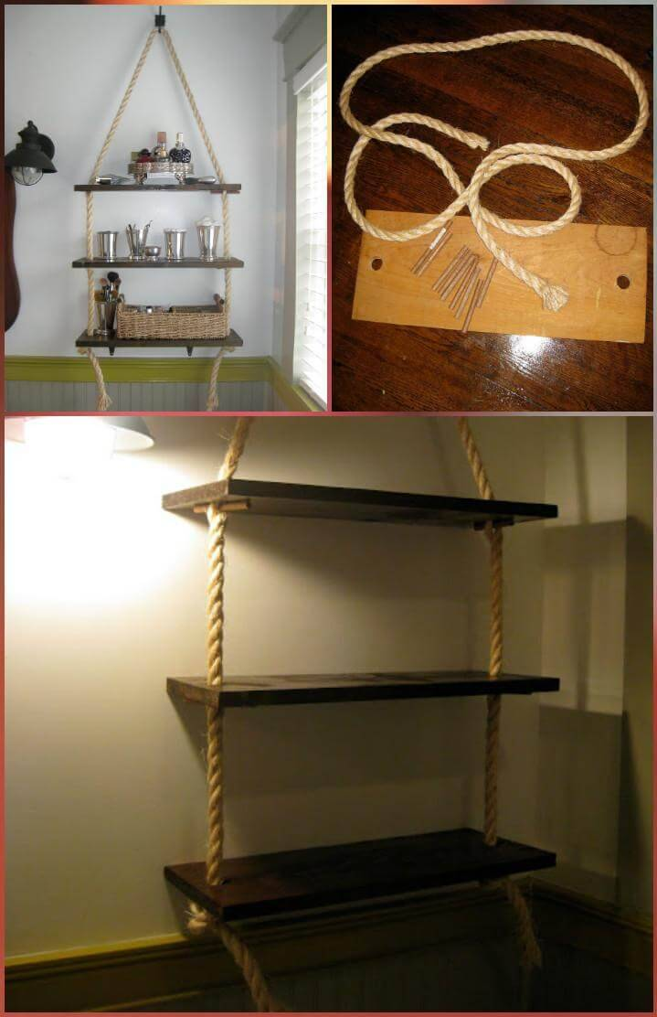 repurposed old wood and rope bathroom shelves