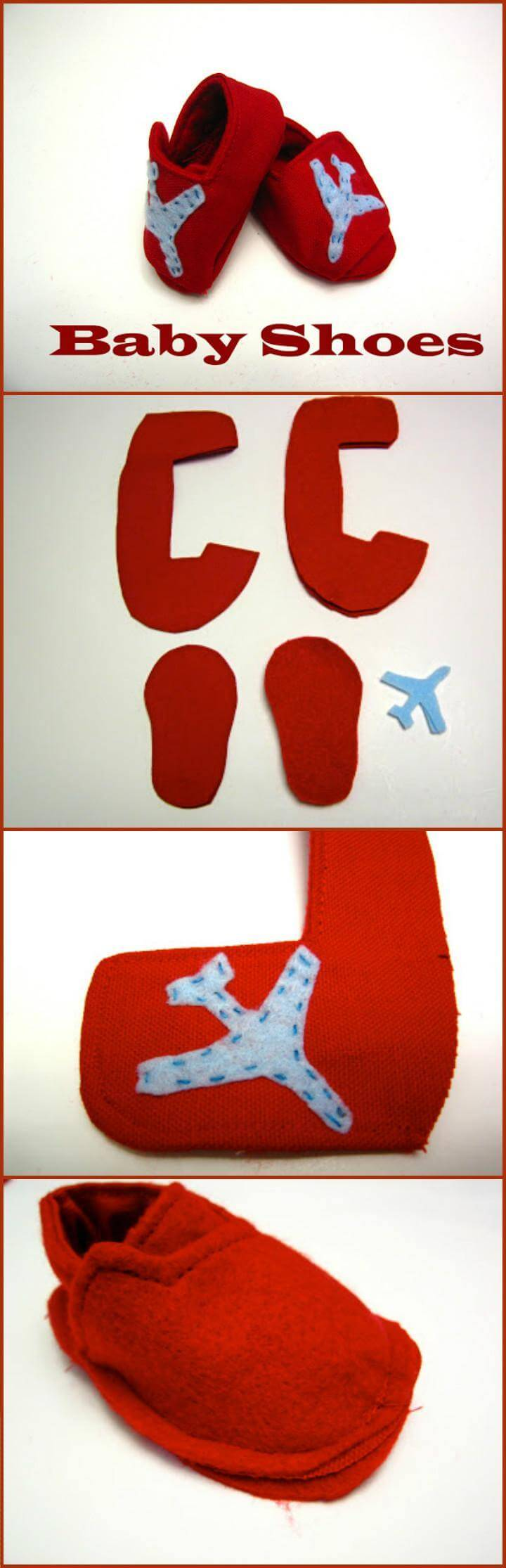 handmade red baby shoes with plane embellishment