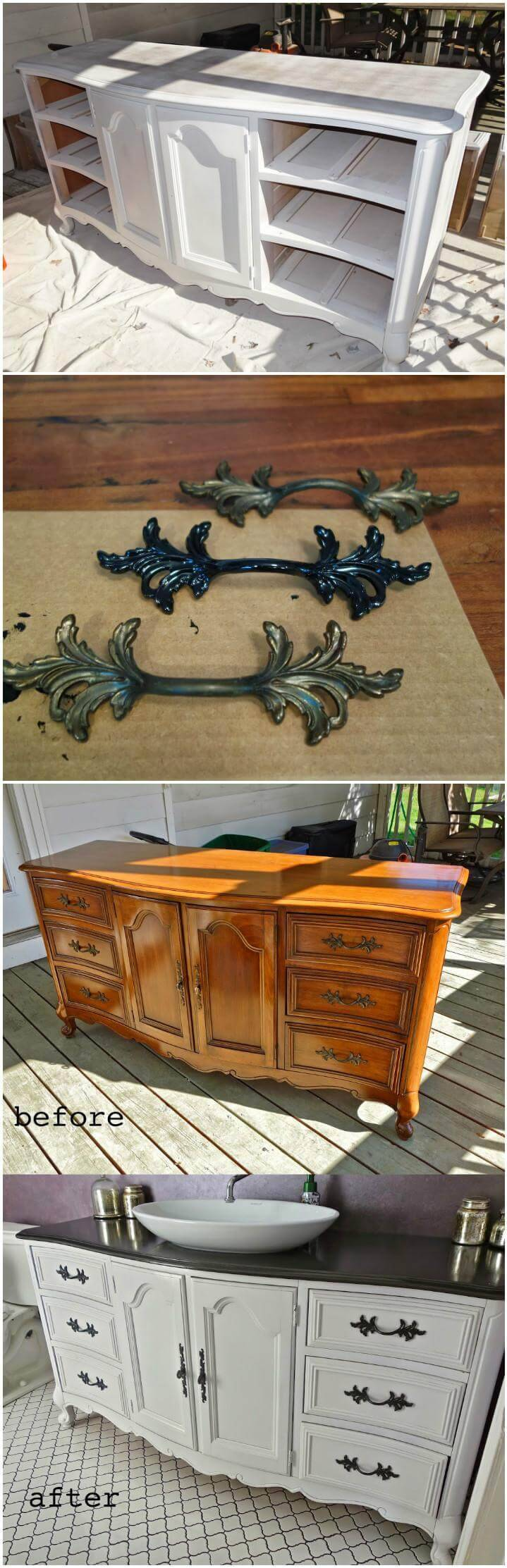 reclaimed buffet or dresser into bathroom vanity
