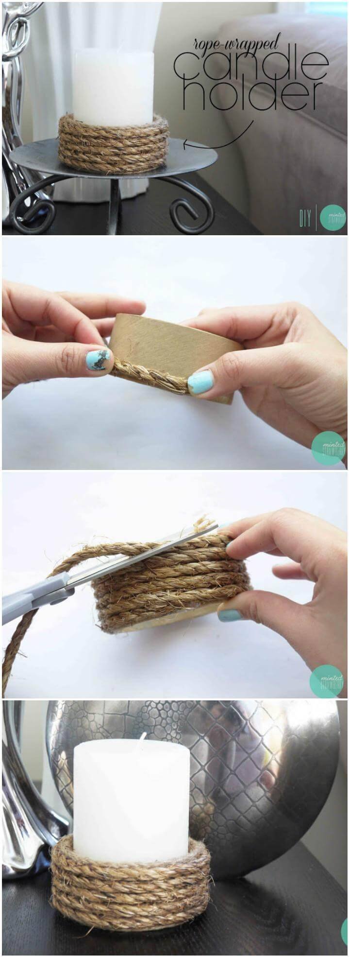 handmade rustic rope votive