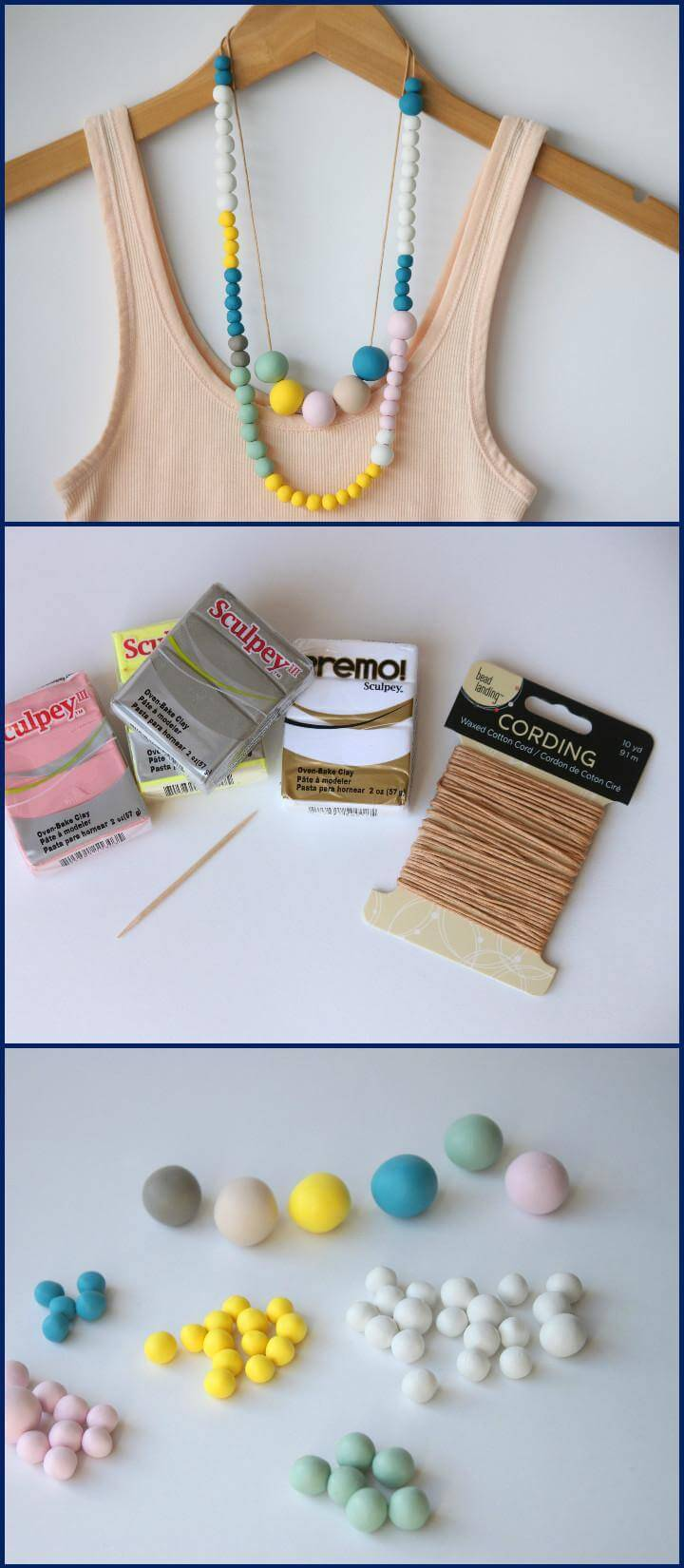 easy and stylish polymer clay bead necklace