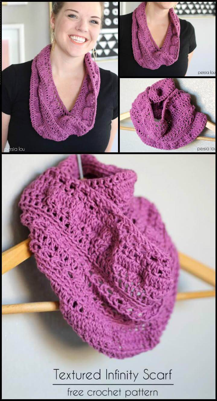 easy DIY textured infinity scarf free pattern