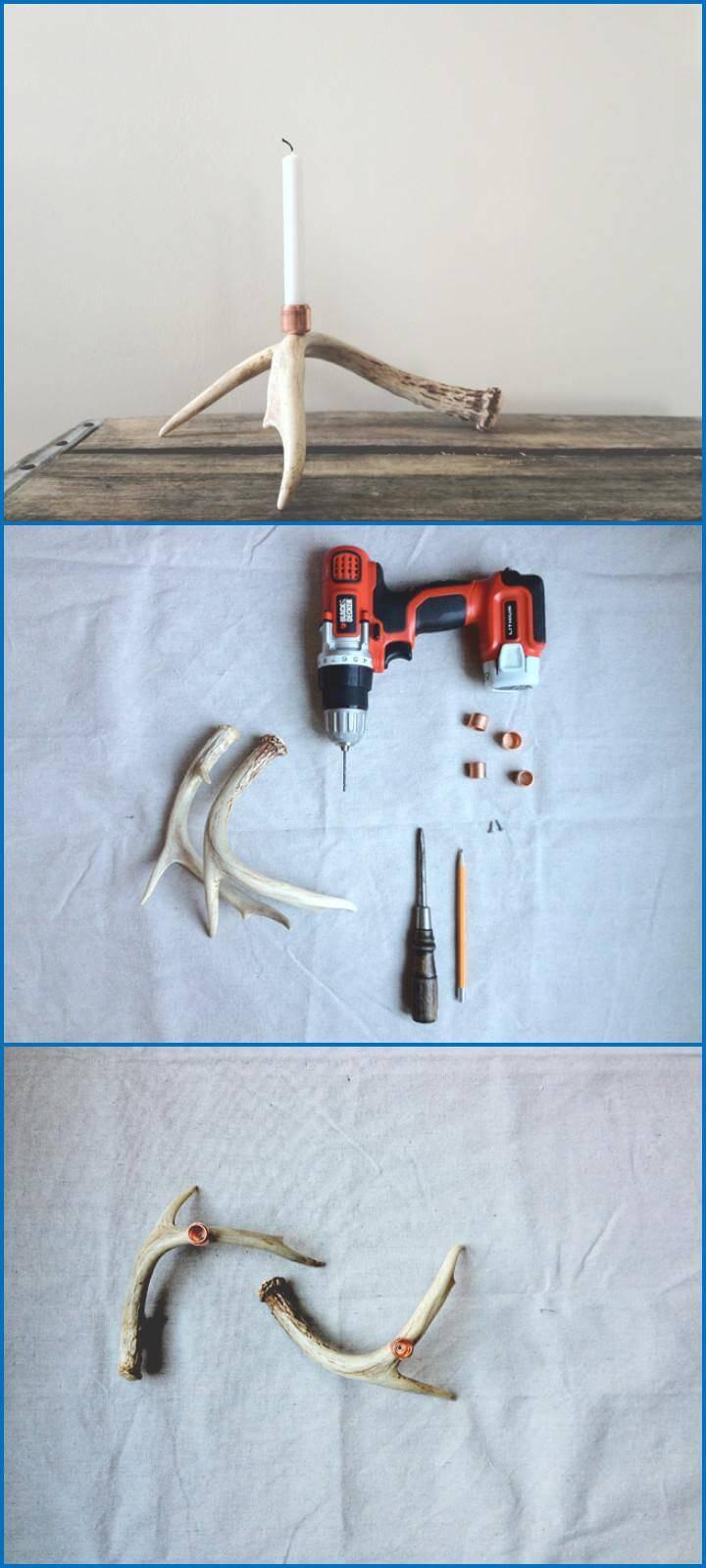rustic DIY antler shed candleholder