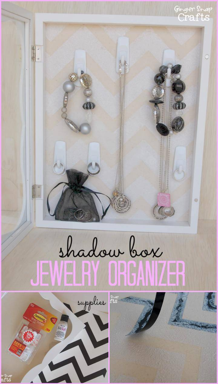 easy vinyl chevron pattern jewelry box makeover