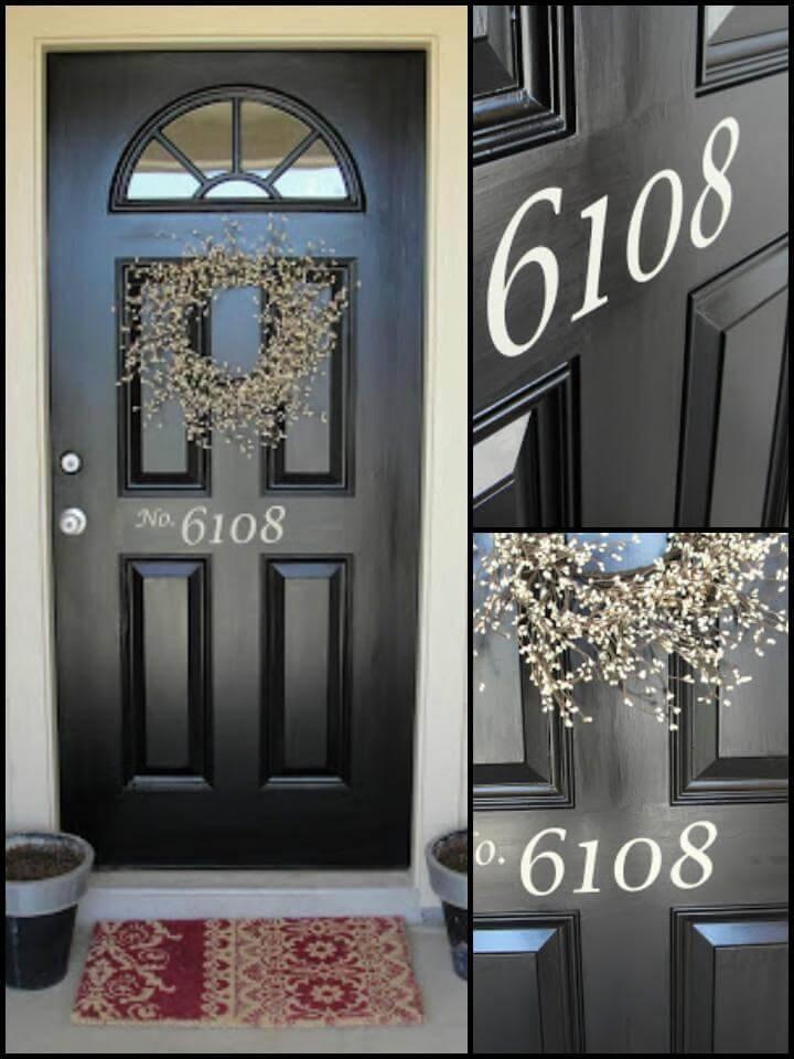 DIY vinyl house number for front door
