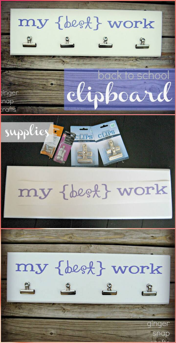 super easy vinyl lettering black-to-school clipboard