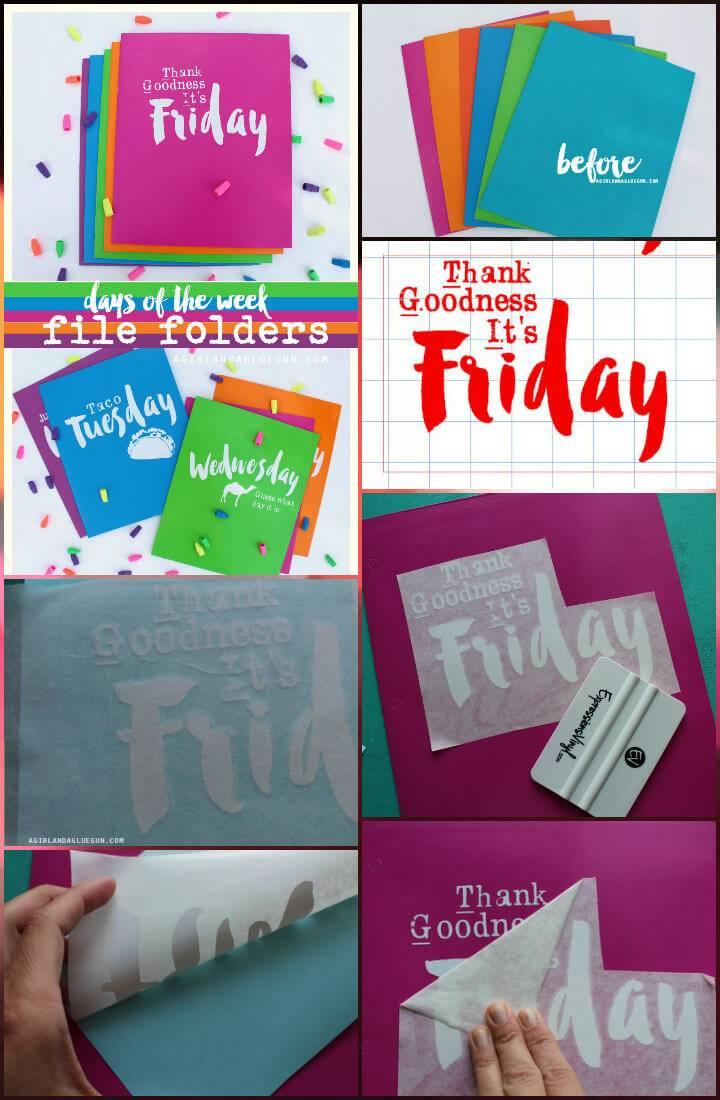 DIY vinyl lettering days of the weed file folders