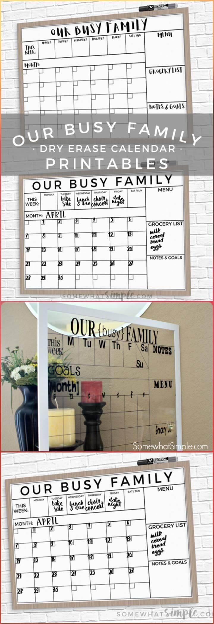 DIY vinyl lettering dry erase glass calendar