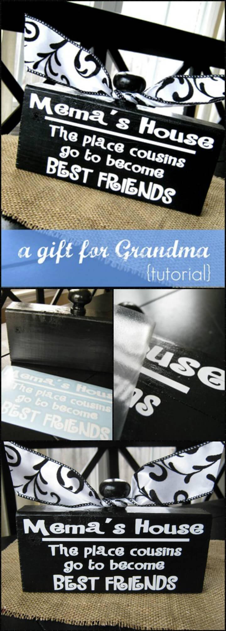 vinyl lettering grandma's house knob block