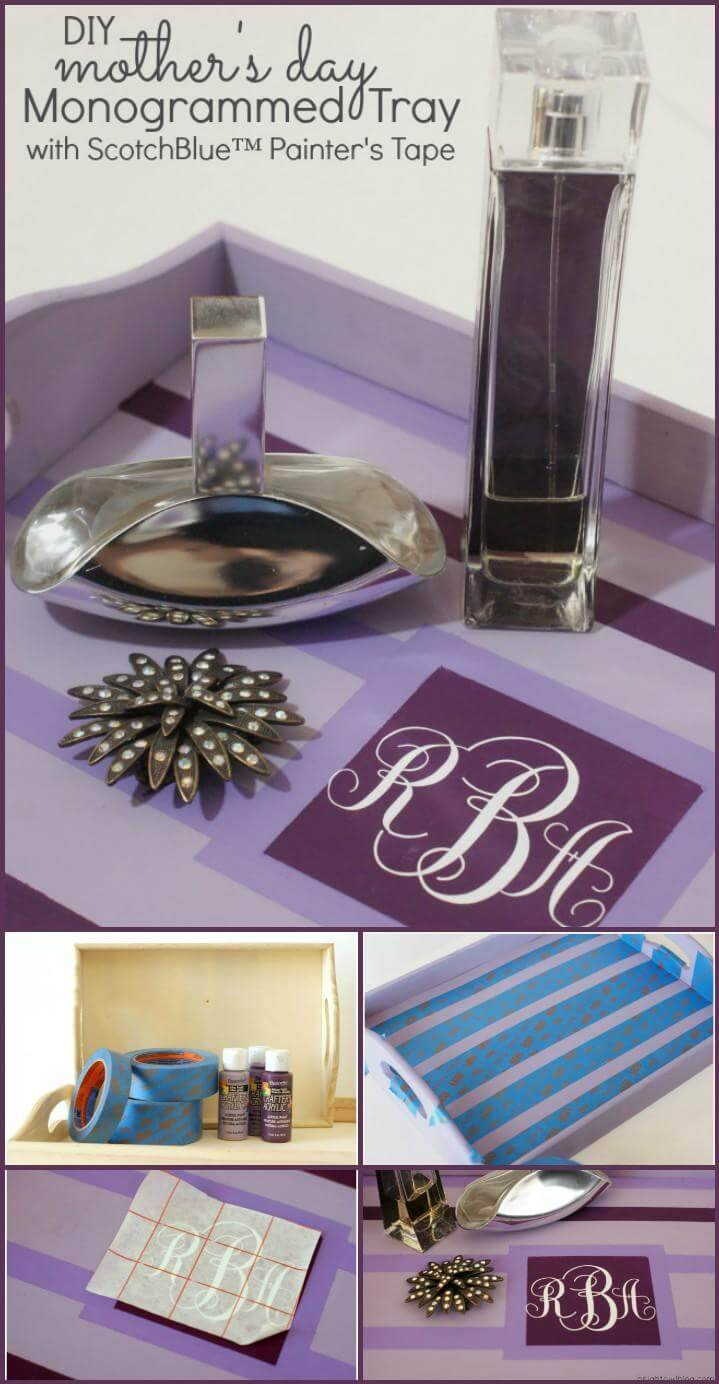 vinyl lettering mother's day monogrammed tray