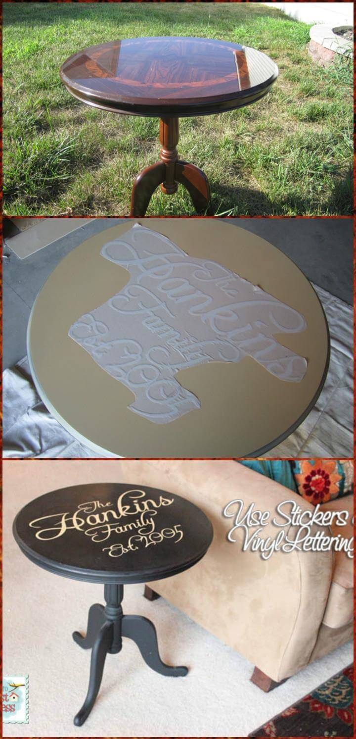 vinyle lettering customized side table