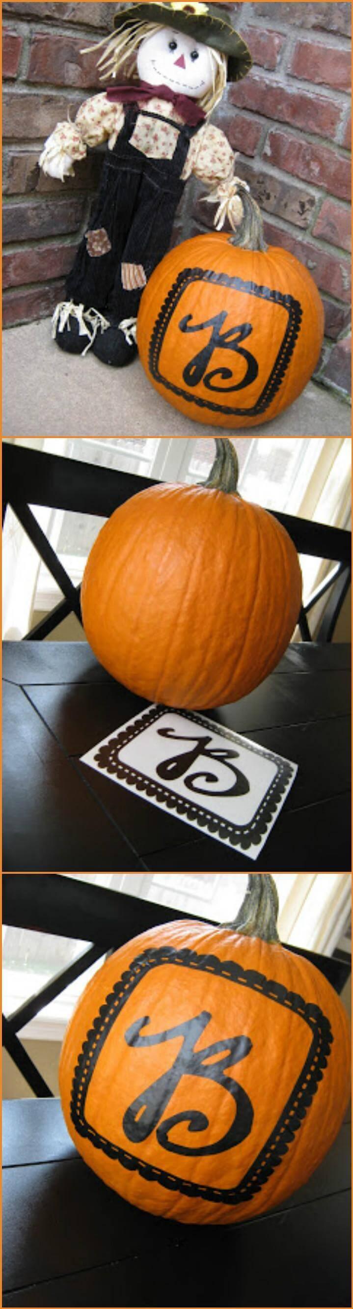 vinyl sticker monogrammed pumpkin