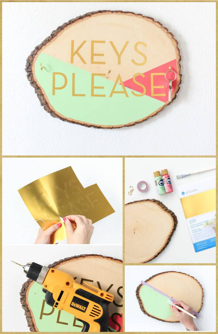 DIY wood slab and vinyl sticker key holder