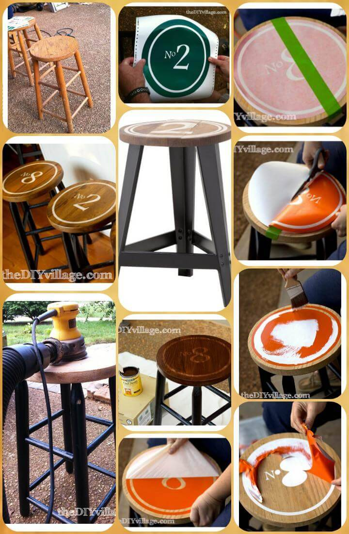 customized vinyl vintage industrial bar stools
