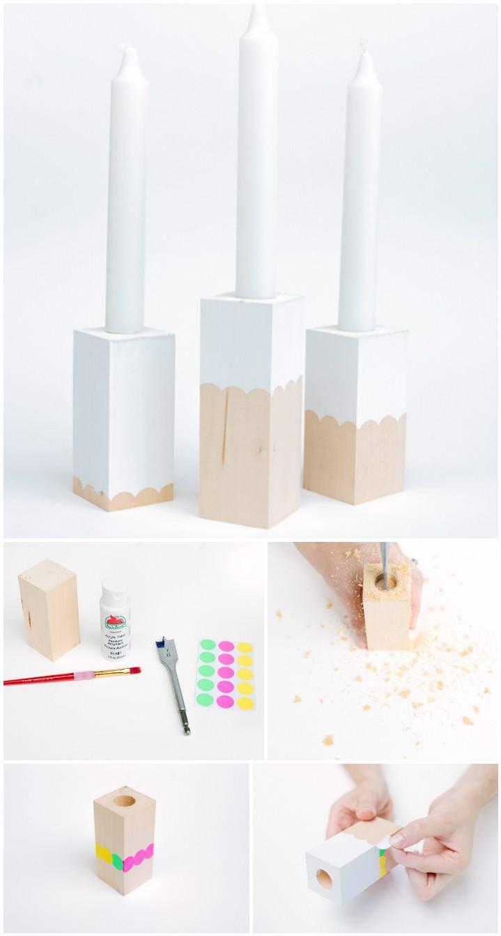 handmade whittling block candelights