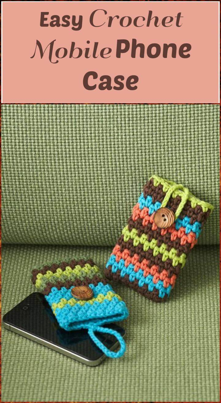 crochet colorful stripes mobile phone case