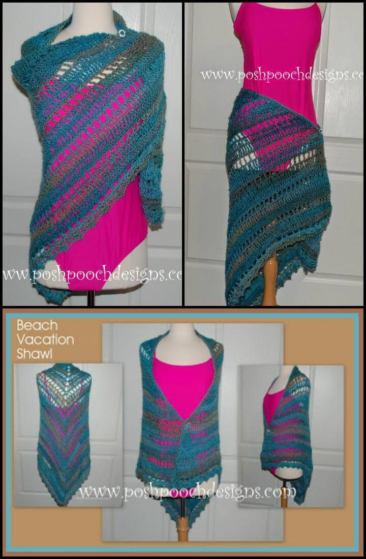 free beach vacation shawl pattern