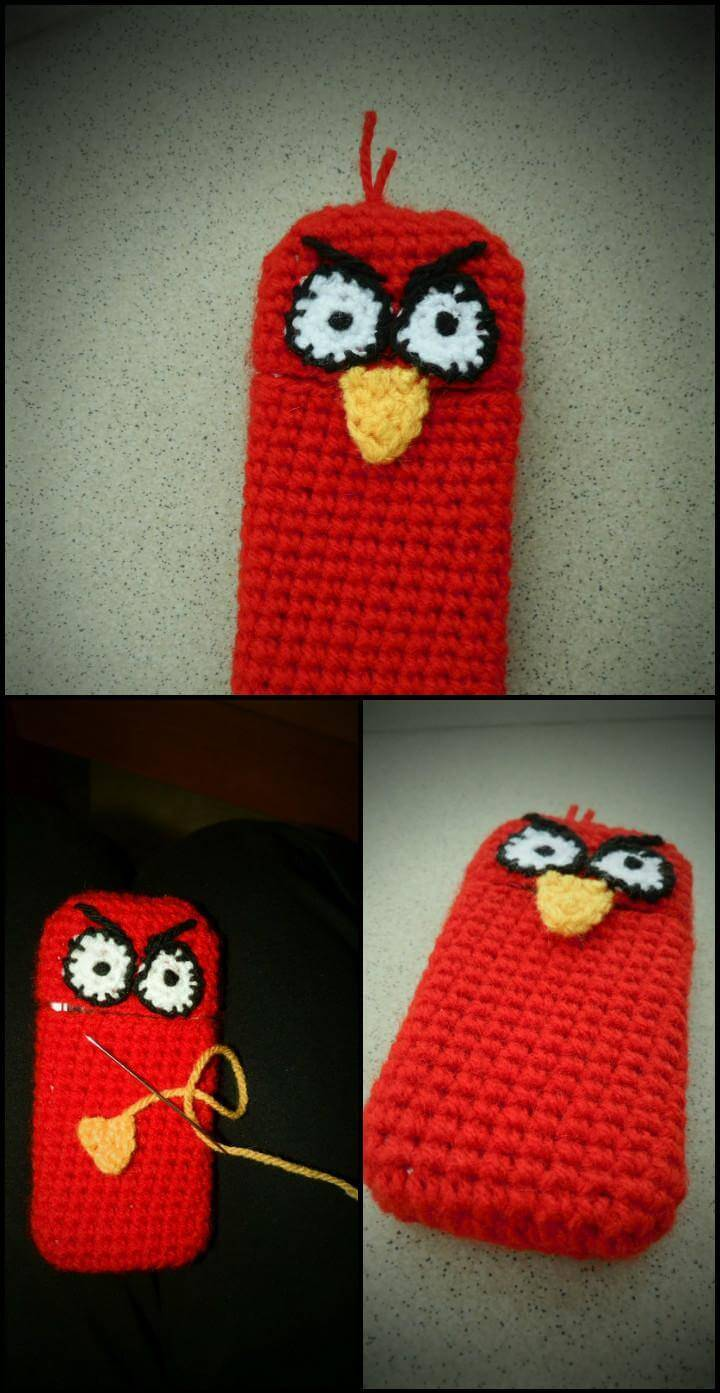 free crochet angry bird phone case