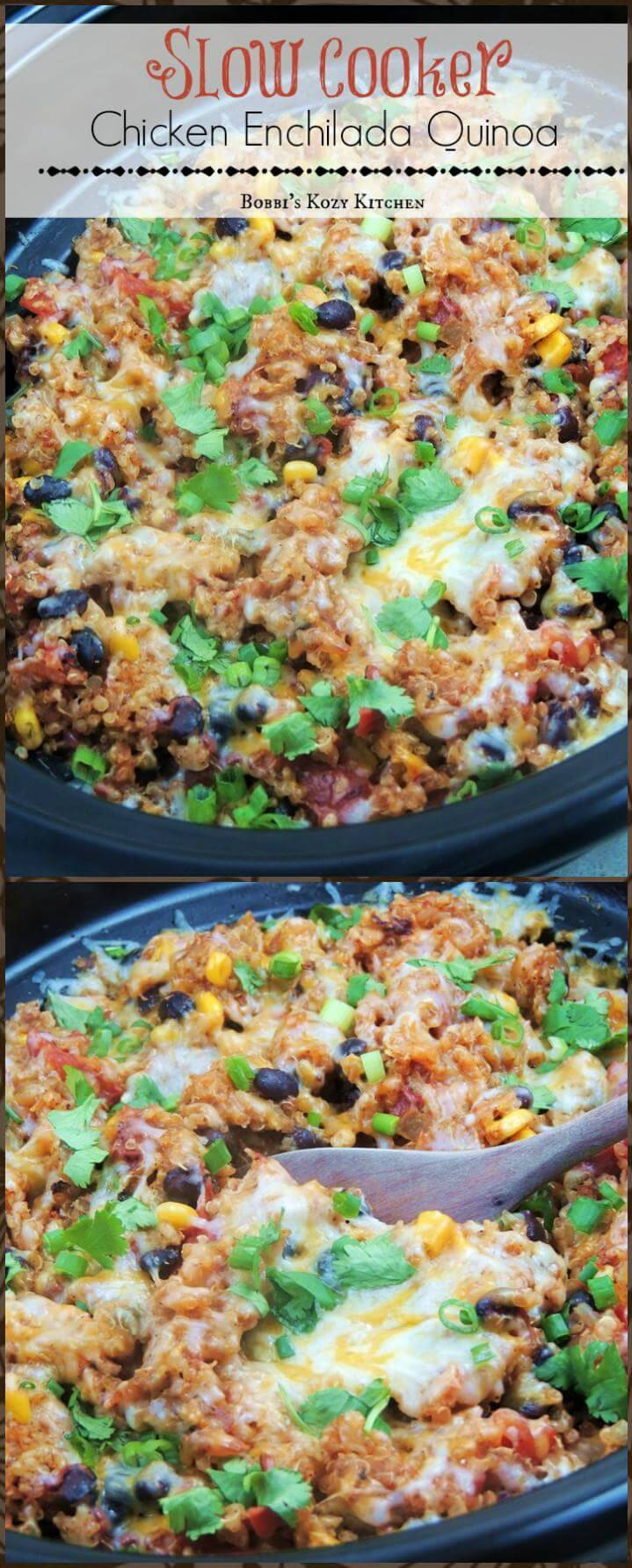 super tasty crockpot chicken enchilada quinoa
