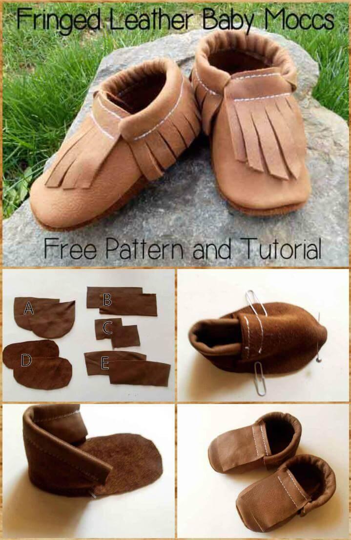 handmade fringed leather baby moccs