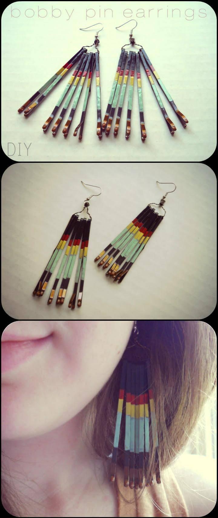 self-made bobby pin earrings
