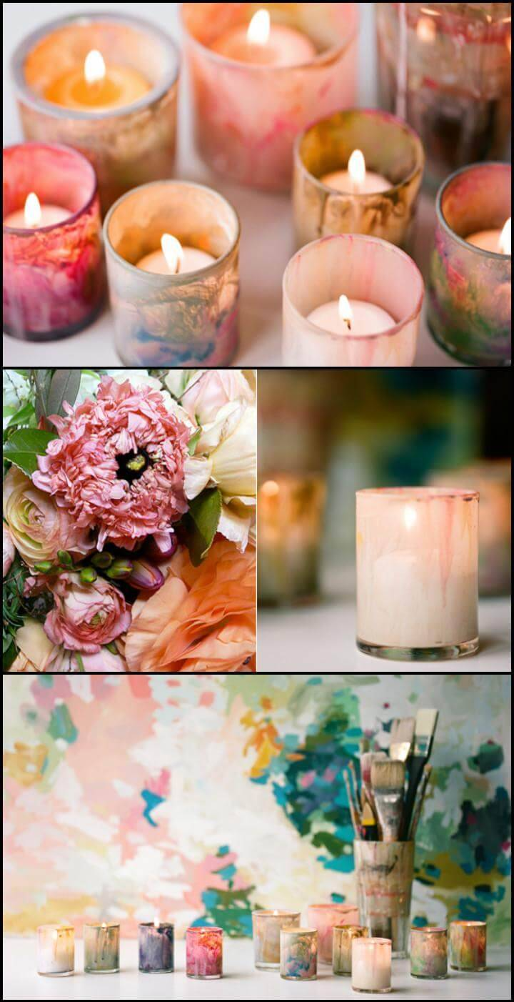easy and beautiful painted DIY votives