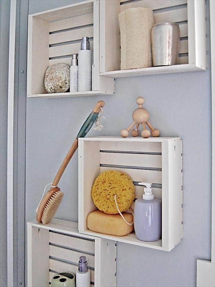 quick and easy DIY bathroom shelving