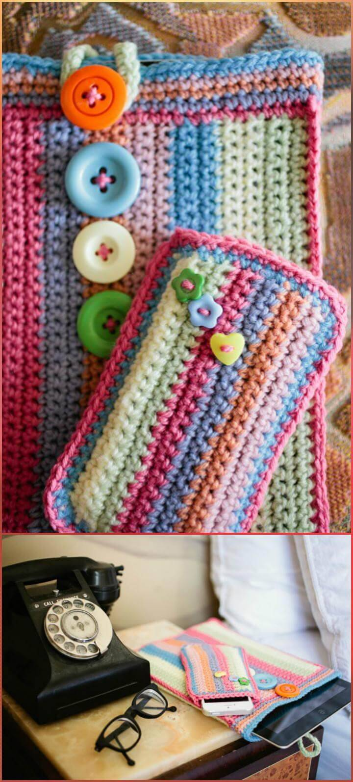 easy and free crochet colorful phone case pattern