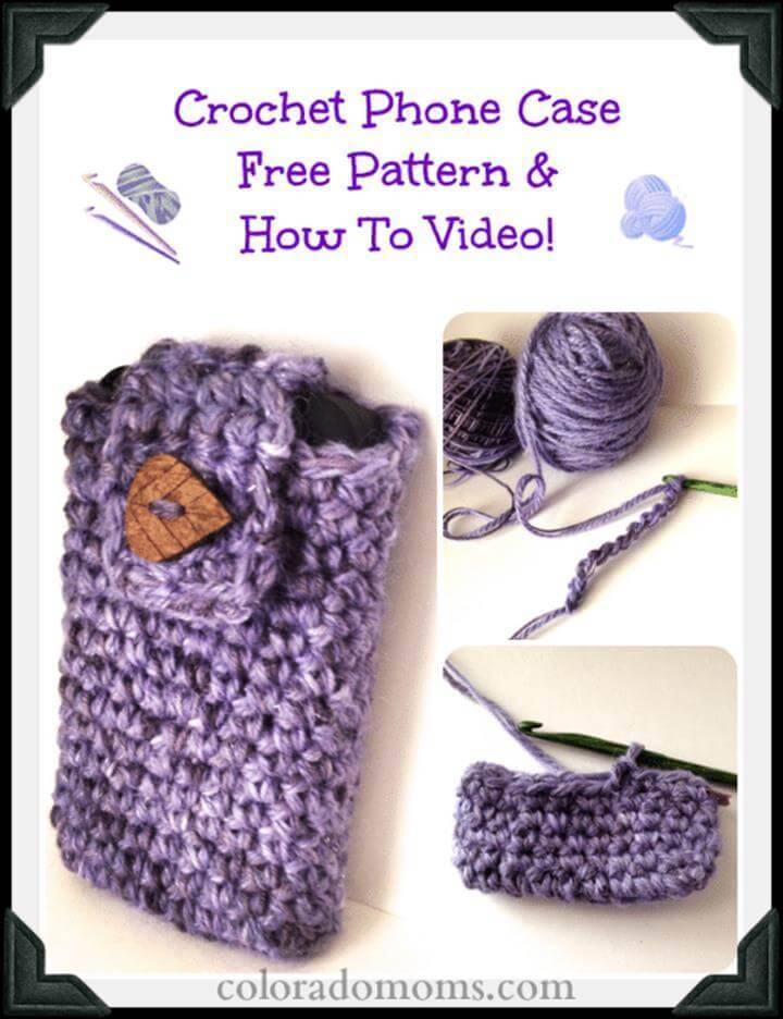 simple and free crochet mobile phone case pattern