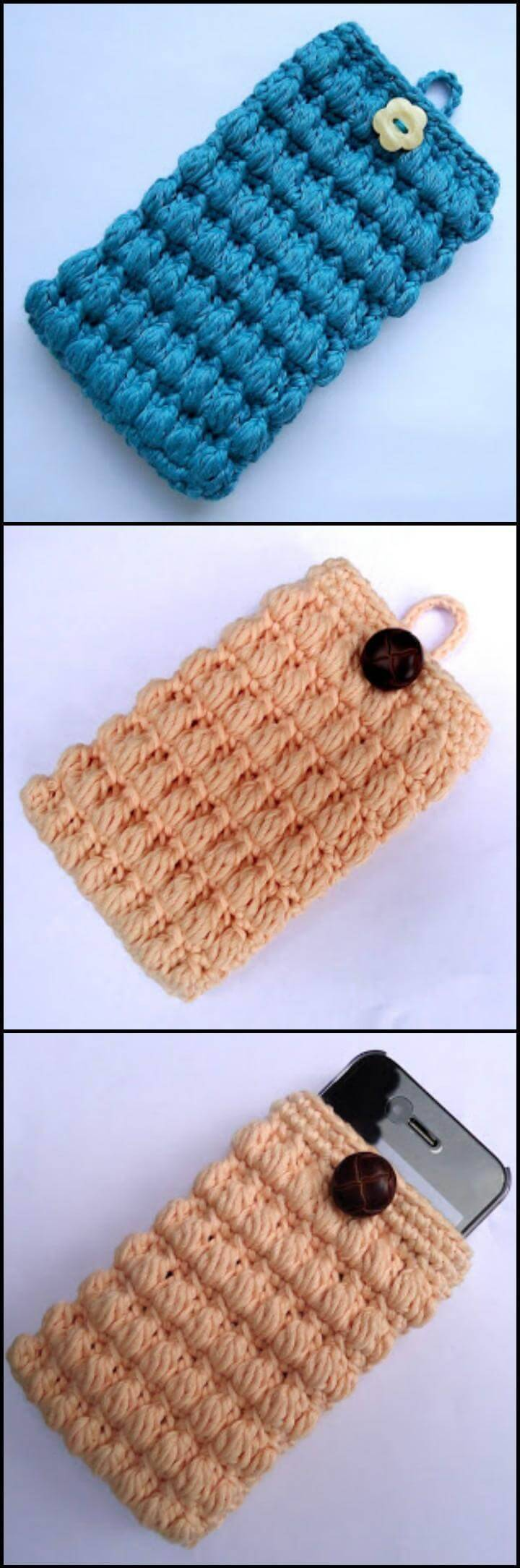 easy and free crochet puffy cell phone cover pattern