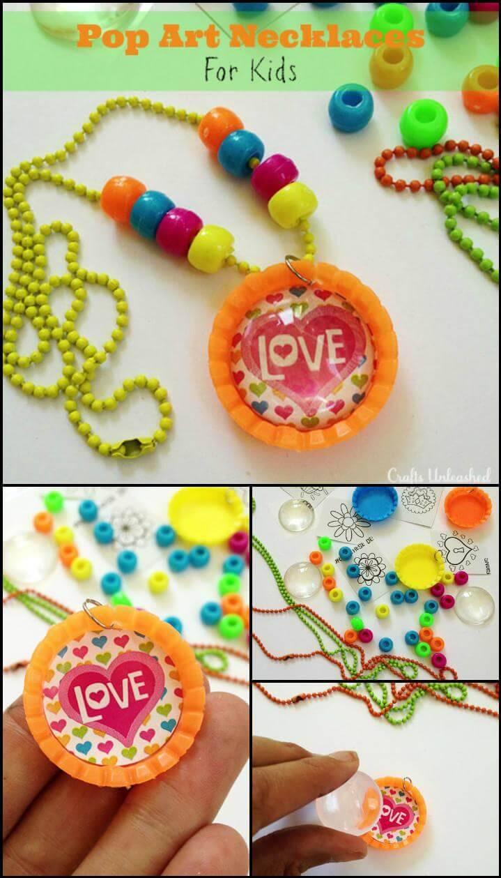 self-made kids pop art necklace