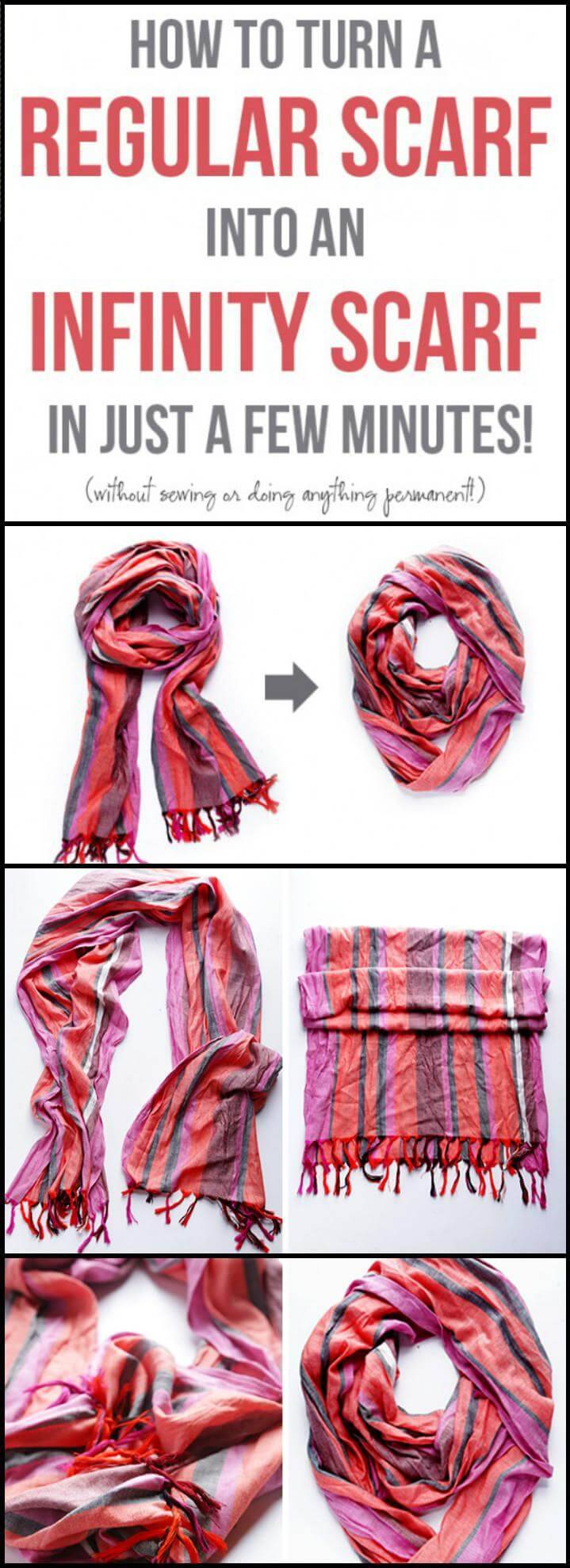 how to convert a regular scarf into an infinity scarf