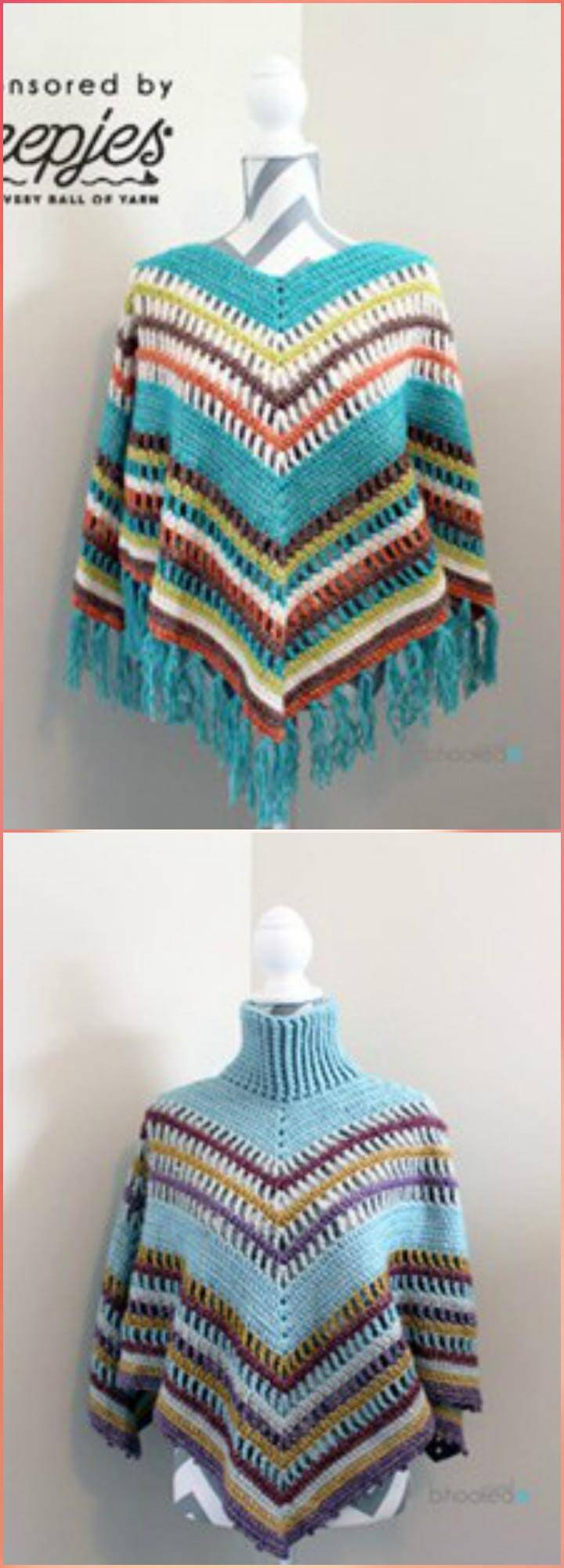 long crochet fall poncho