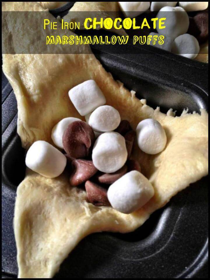 pie iron chocolate marshmallow puffs