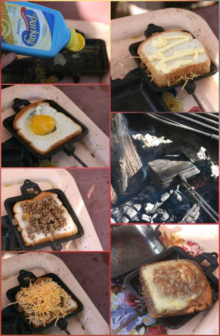 easy pie iron breakfast sandwiches