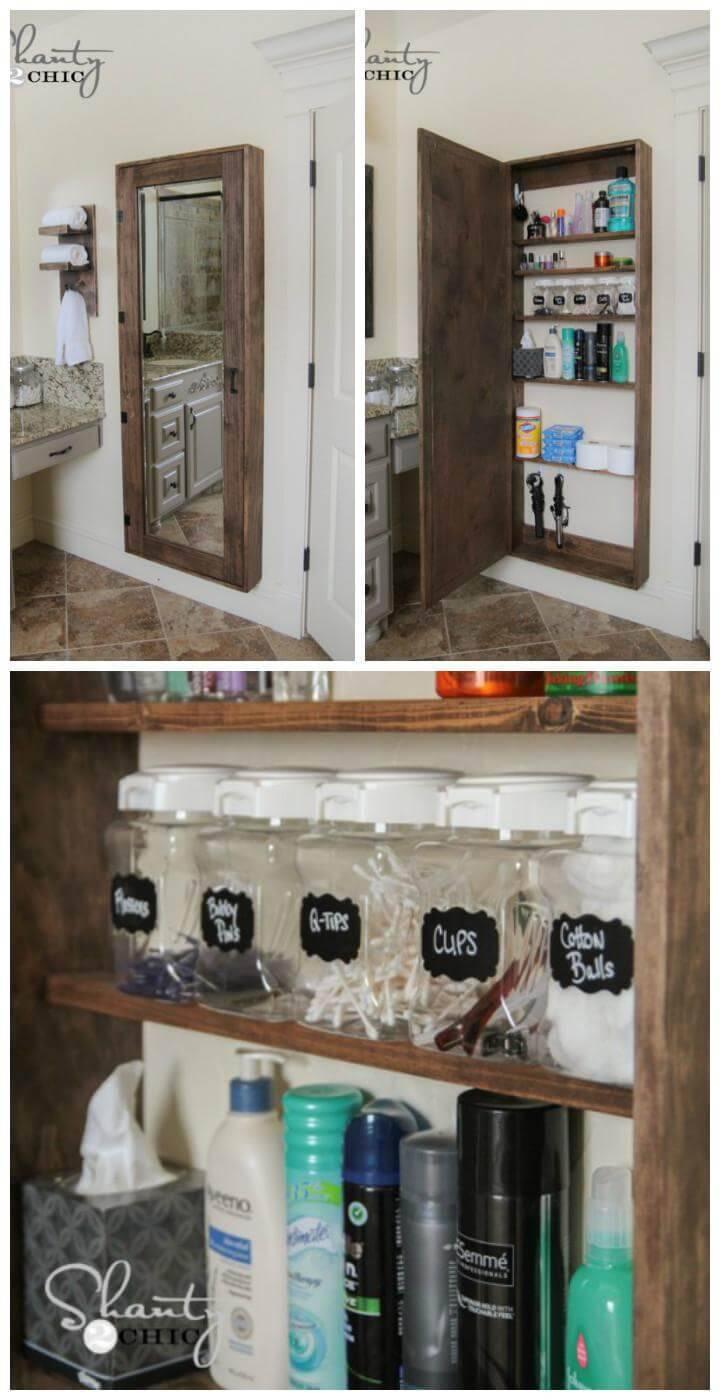 handmade DIY bathroom mirror storage case